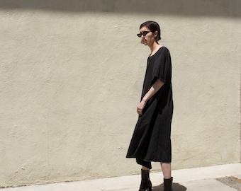 Vintage Black Oversized Lightweight Minimal Flowy Dress XS-2XL