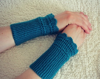 Fingerless Mittens, Womens Gloves, Hand Knit Gloves, Wrist Warmers, Colour of Sea Water