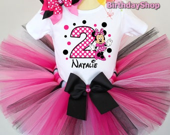 Pink and Black Minnie Mouse Birthday Outfit - 1s, 2nd, 3rd, 4th, 5th Birthday Outfit - Girl's Birthday Outfits - Minnie Mouse Outfit, Tutu