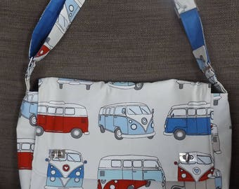 Messenger bag in VW fabric, large bag with adjustable strap and turn lock fasteners