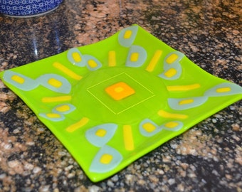Hand made Fused glass art plate, Spring Green with Celadon Green and Yellow accents