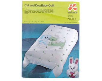 Vintage Cat and Dog Baby Quilt Kit by LeeWards - Puppy and Kitten with Gingham Applique Details in Green and Blue