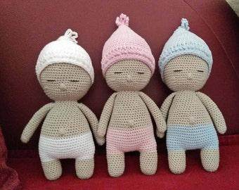 Amigurumi baby doll, doll, doll crochet white