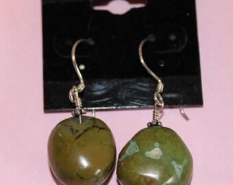 Green-Brown Chunky Turquoise Earrings
