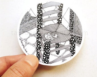 Van Gogh. The Chair. Art. Sticker. Famous Painting. Adhesive. Zentangle. Car. Macbook. Black and white. © FREE SHIPPING
