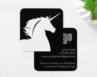 Square White Unicorn Card Design - Caught  Wild Information Consultant Unique Info discount custom personalized