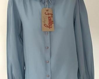 Vintage Blue chiffon shirt 1960's style.