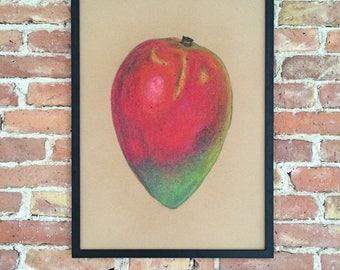 Mango Original Art Wall art Kitchen decor Fruit Painting home decor Poster