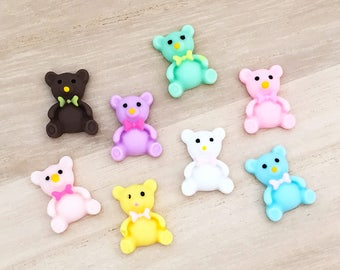 Teddy Bear Cabochons (8 pcs) Kawaii Cabochons Resin Flat Back Cell Phone Deco