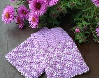 Light violet beaded wrist warmers, merino wrist warmers, knit wrist warmers, violet arm warmers, beaded arm warmers, knit arm warmers