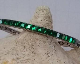 Art deco faux emerald sterling silver bangle