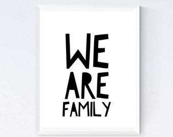 Family- typography colourful poster, we are family wall print, family wall hanging, kids room wall decor, kids playroom happy poster