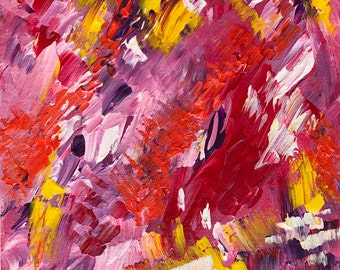 Original Abstract Acrylic Painting on Box Canvas // Approximately 10'' x 8'' 'Ribbons and Rainbows'