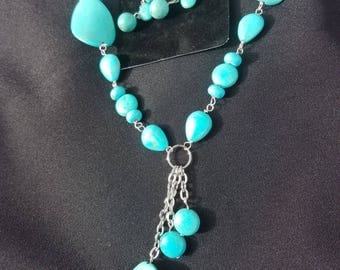 Handmade Turquoise Necklace and Earing Set