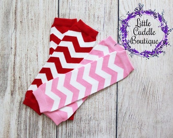 Chevron Leg Warmers, Red And White Leg Warmers, Pink And White Leg Warmers, Photo Prop, Birthday Outfit, Smash Outfit, Baby Shower Gift