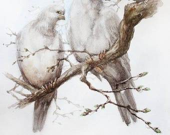 Pair of pigeons watercolor painting, Original watercolor Bird Painting, Two Pigeons original watercolor art, animal watercolor, Wedding Gift