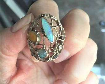 NEW REDUCTION!! Vintage Sandra Dini designer contemporary brutalist 10k rose gold sterling ring mexican opal, diamond, labradorite
