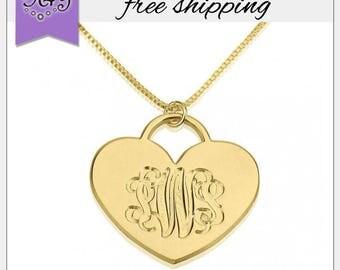 Gold Plated Engraved Monogram Heart Pendant • Personalized Heart Monogram Necklace •  Personalized Initial Monogram Necklace •Love Necklaces