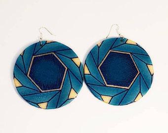 African Print Round Dangle Earrings