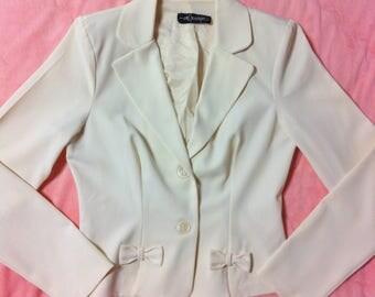 Cream White Vintage Blazer / Cream Vintage Blazer with Little Bow Detail