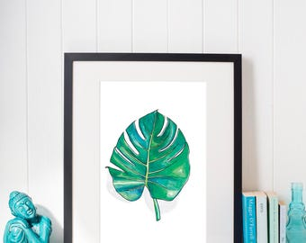 Monstera Watercolor Print, Instant Digital Download, Printable, Wall Art, Minimal, Floral, Botanical, Tropical
