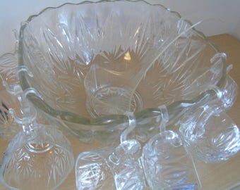 Vintage Glass punch bowl & glasses