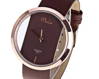 Dalas Quartz Watch With Hollow-out Dial | Women Watch | Gift For Her | Modern Watch | Leather Watch | Vintage Watch | Leather Bracelet
