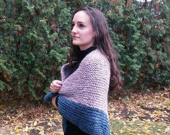 Handmade knitted blue and lavender shawl