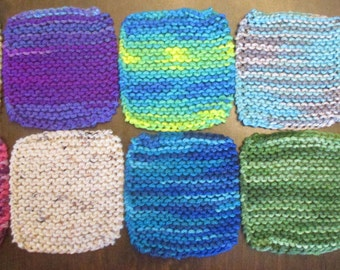 Multi-Colored Hand-Knitted Coasters