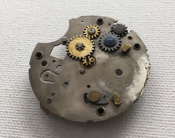 Vintage Steampunk pocket watch base plate with gears