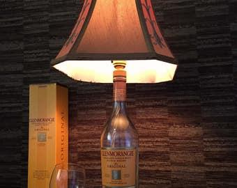 Glenmorangie Whisky Bottle Lamp With Brown & Orange Shade Upcycled 70cl