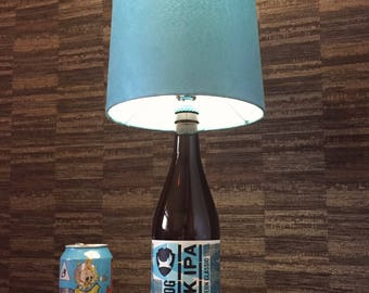 Brewdog Punk IPA Beer Bottle Lamp With Blue Shade Upcycled
