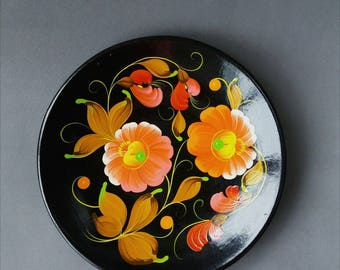 Vintage Decorative Wooden Plate Hand Painted Wooden Plate Ukrainian Traditional Painting On Wood Black Plate With  Flower Rustic Home Decor