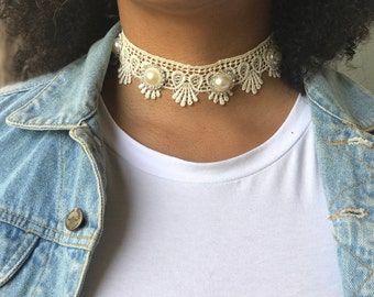 Choker Necklace, Lace Choker Necklace, Pearl Choker Necklace, Vintage Choker Necklace, Lace Choker, Beige Choker, Thick Choker Necklace