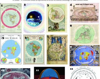 12 x Flat Earth Maps on 350gsm A4 thick glossy paper.