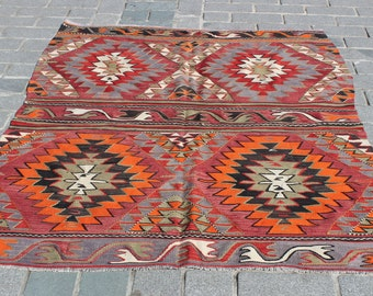 Kilim Rug-6'4x4'9Feet-Vintage Home Decor-Anatolian Area Kilm Rug-Boho Vintage Rug-Rugs