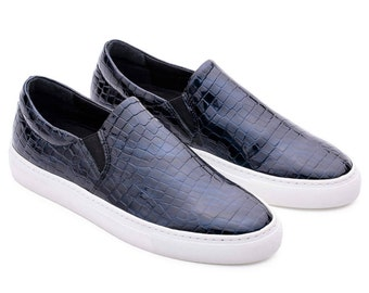 Dark Blue Slip Ons Shoes Leather, Slip ons Women, Dark Blue Sneakers, Blue Crystal Sneaker, Slipons Women, Blue Slip On Shoes