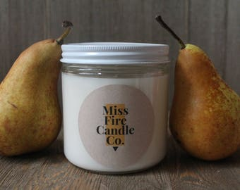 Brandied Pear Scented Soy Candle in a Glass Jar