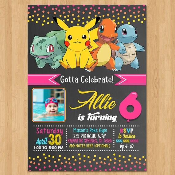 Pokemon Invite - Chalkboard Pink, Yellow & Blue - Girl Pokemon Birthday Party Invite - Pokemon Party Favor - Photo Invite - Pikachu Birthday