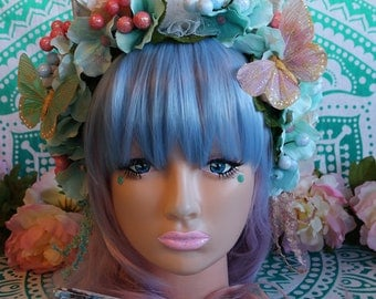 Unicorn/Flower Headband-Headpiece/Crown/Kawaii/Lolita/BoHo-Fairy (Pastel Queen)