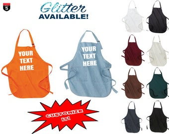 Personalized apron custom text-vinyl-glitter available, multiple colours available perfect gift! kitchen chef accessories BBQ