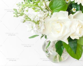 SET OF TWO : White Flower Bouquet