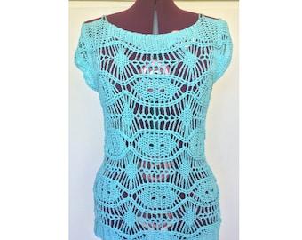 Crochet Top, Summer Top, Beach Top, Women's Blouse, Lacy Crochet Top, Cotton Top, Sleeveless Top, Open Shoulder Top, Light Cotton Blouse