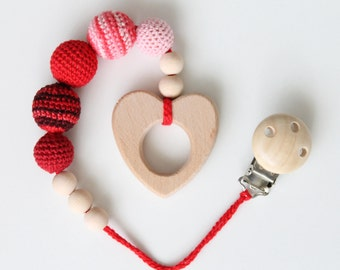 Heart crochet baby teether with clip teething wooden toy