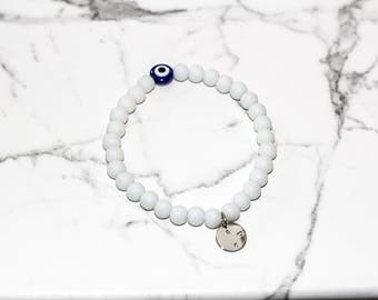 White Evil Eye - hand crafted bracelet