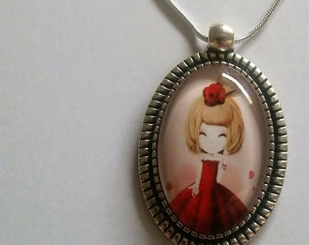 Cabochon necklace style manga, japenese, steampunk, romantic
