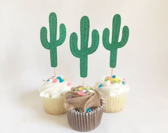 Cactus Cupcake Toppers Fiesta Cupcake Topper Cacti Party Cinco De Mayo Party Cactus Toppers Cactus Cupcake Glitter Cactus Cactus Decor