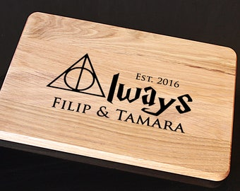 "Personalized Cutting Board Custom Engraved, Harry Potter Gift ""Always"", Anniversary Gift, Bridal Shower Gift, Kitchen Decor,  Wedding Gift"