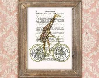Giraffe drawing, Giraffe on bicycle, Giraffe poster, Giraffe artwork, Giraffe art, bithday print, bicycle print, boys room decor