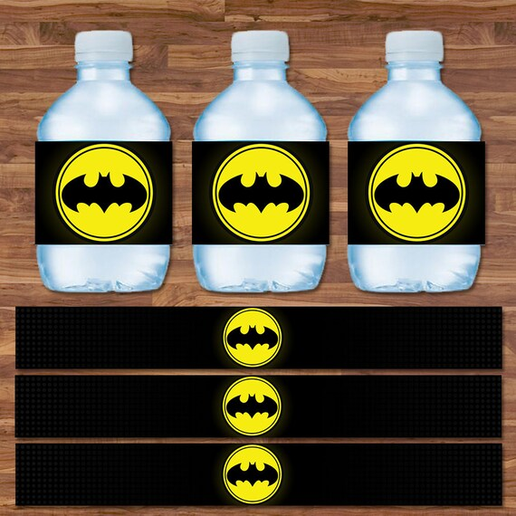 Batman Drink Labels - Batman Water Bottle Labels - Black & Yellow Logo - Batman Birthday - Batman Printables - Flash 9.75 x 1.25 Inches
